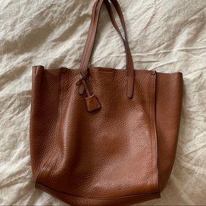 J.Crew Signet Italian Leather Tote Bag Brown